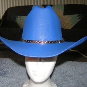 New Blue Canvas Cowboy Cowgirl Hat Fixed Size